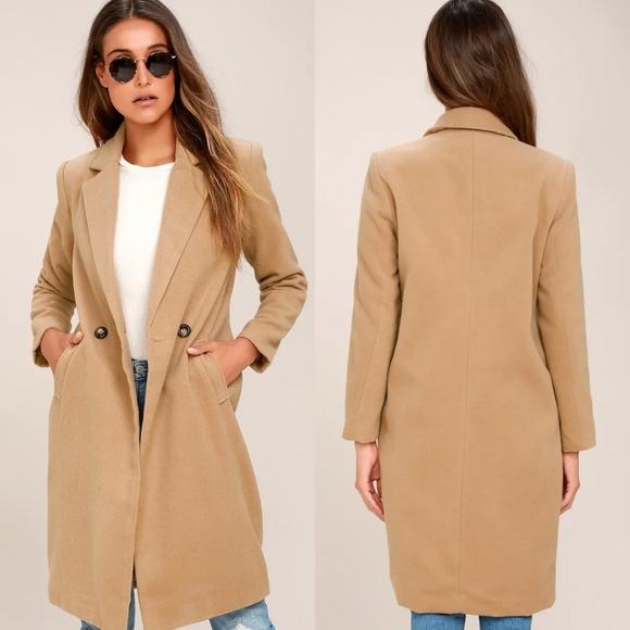 Lulu's | Harriet Long Double Breasted Tan Coat